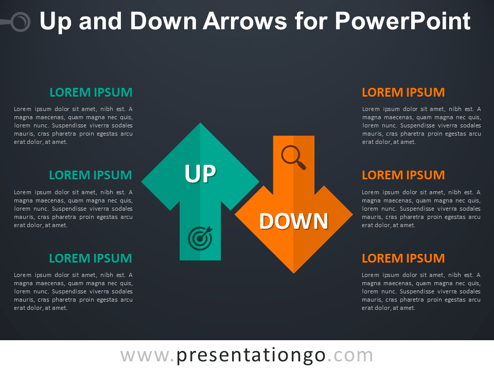 Free Up and Down Arrows for PowerPoint - Dark Background