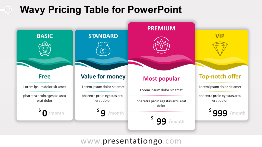 Free Wavy Price Table for PowerPoint