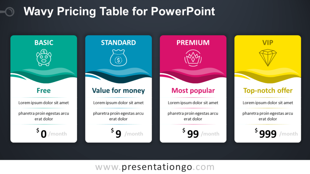 Free Wavy Price Table for PowerPoint - Dark Background