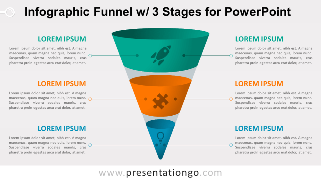 Infographic Funnel with 3 Stages - Free PowerPoint Diagram