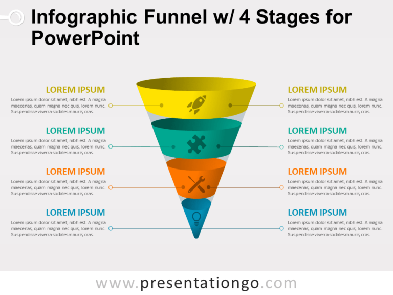 Free Infographic Funnel with 4 Stages for PowerPoint