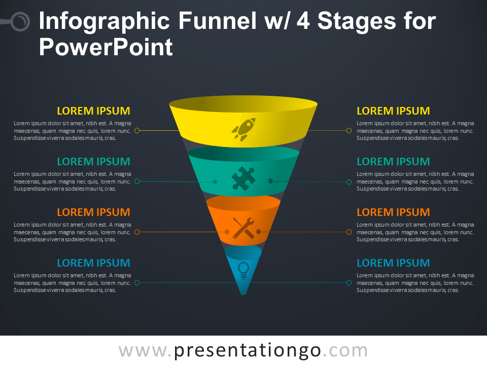 Free Infographic Funnel with 4 Stages for PowerPoint - Dark Background