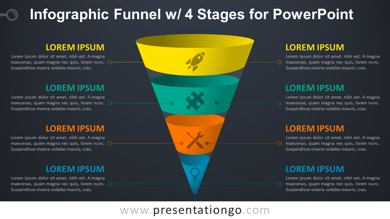Infographic Funnel with 4 Stages - Free PowerPoint Diagram (Dark Background)
