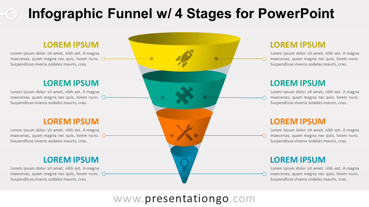 Infographic Funnel with 4 Stages - Free PowerPoint Diagram