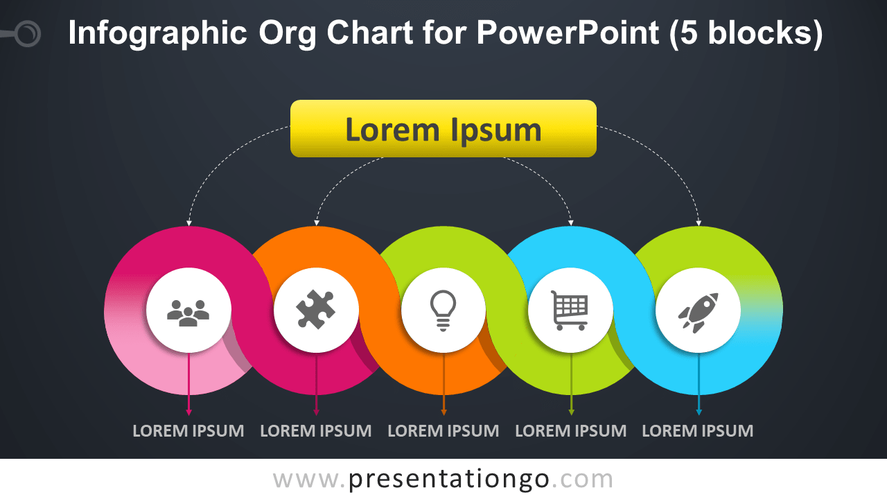 Free Infographic Organization Chart for PowerPoint with 5 Blocks - Dark Background
