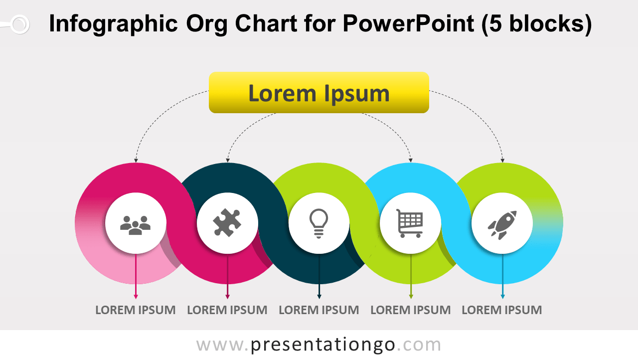 Free Infographic Organization Chart for PowerPoint with 5 Blocks