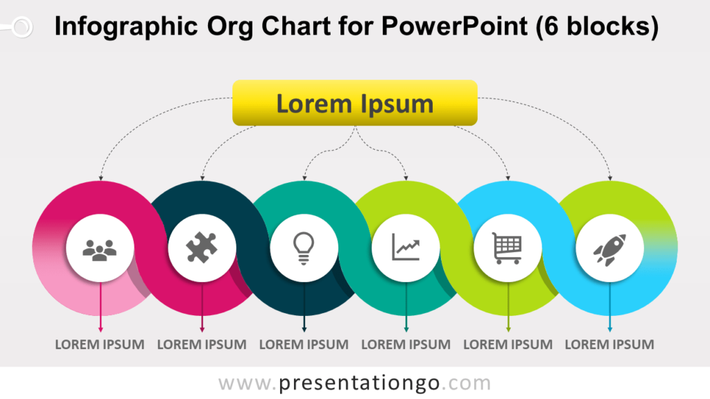 Free Infographic Organization Chart for PowerPoint with 6 Blocks