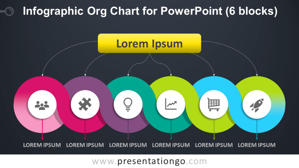Free Infographic Organization Chart for PowerPoint with 6 Blocks - Dark Background