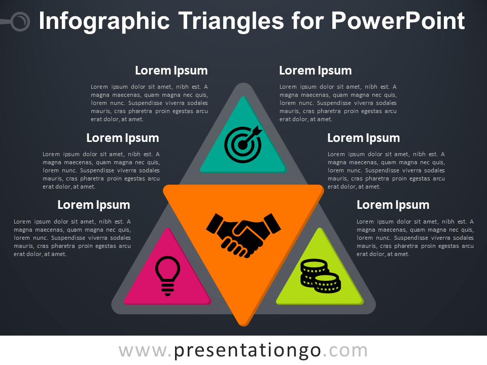 Free Infographic Triangles for PowerPoint - Dark Background