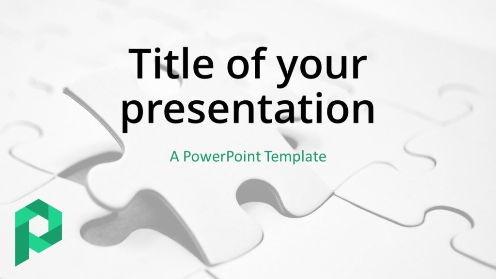 Free Jigsaw Puzzle Template for PowerPoint (Light) - Cover Slide