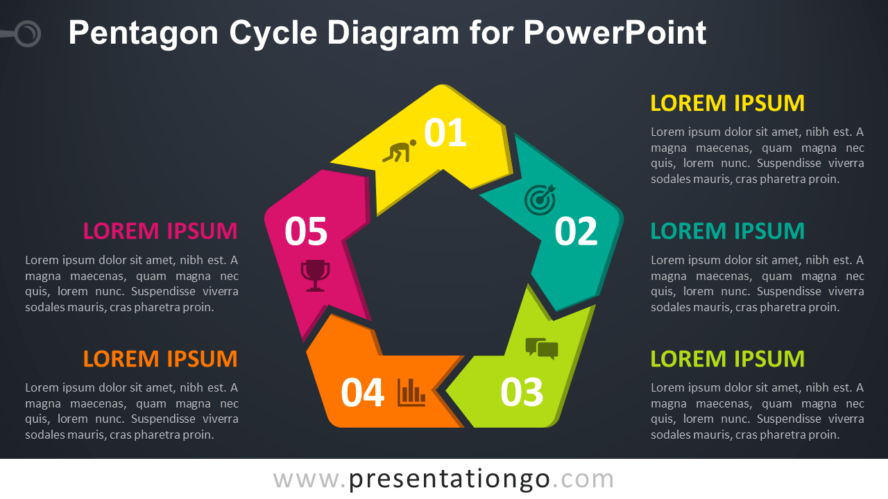 Free Pentagon Cycle for PowerPoint - Dark Background