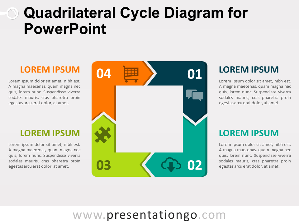 Quadrilateral Cycle Diagram For Powerpoint Presentationgo