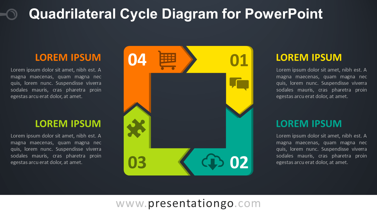 Free Quadrilateral Cycle for PowerPoint - Dark Background