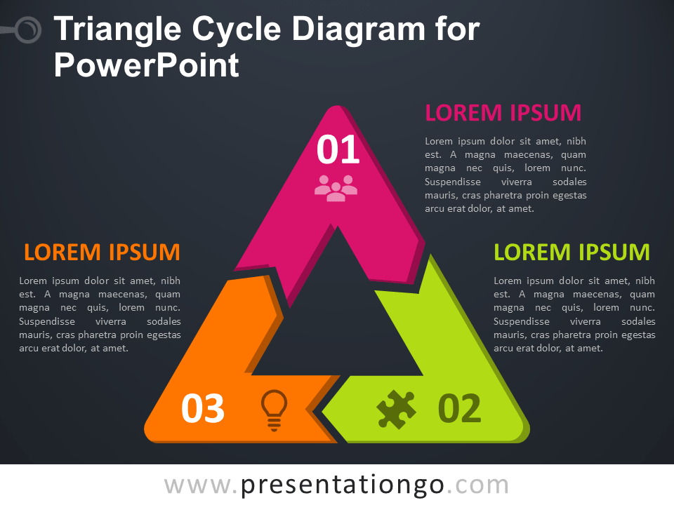 Free Triangle Cycle Diagram for PowerPoint - Dark Background