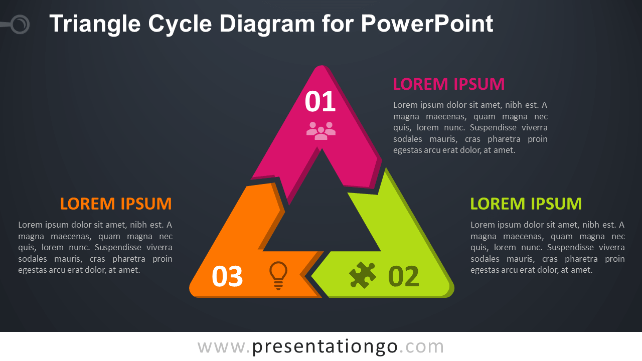 Free Triangle Cycle for PowerPoint - Dark Background