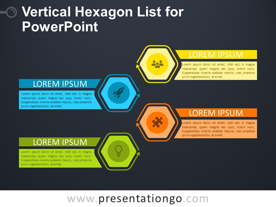 Free Vertical Hexagon List for PowerPoint - Dark Background