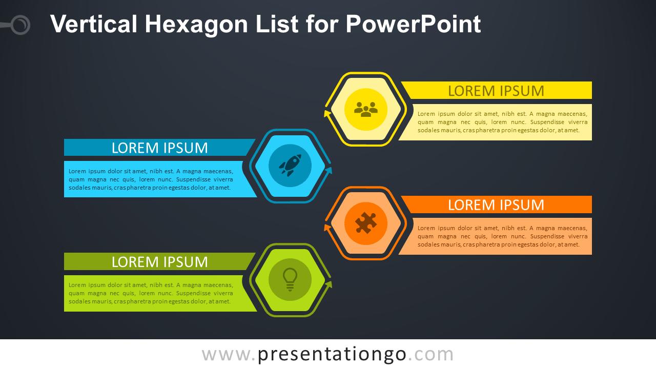 Vertical Hexagon List - Free PowerPoint Diagram (Dark Background)