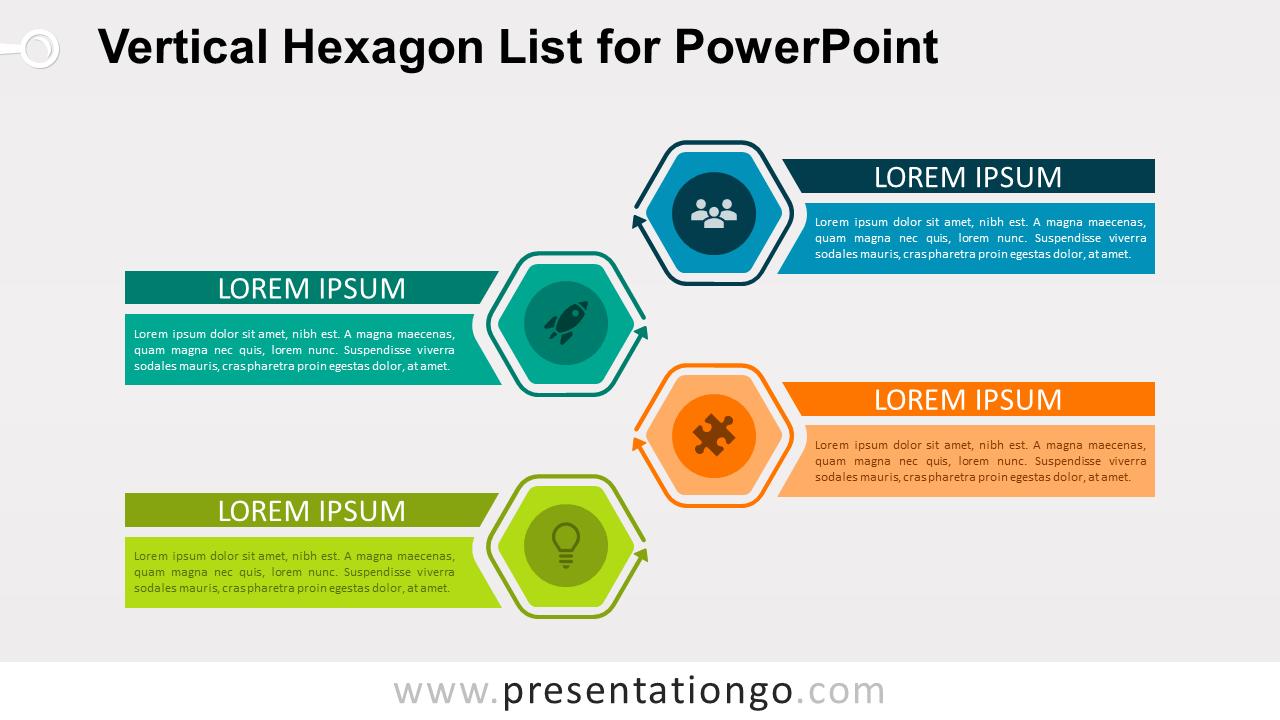 Vertical Hexagon List - Free PowerPoint Diagram