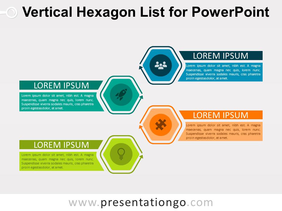 Free Vertical Hexagon List for PowerPoint