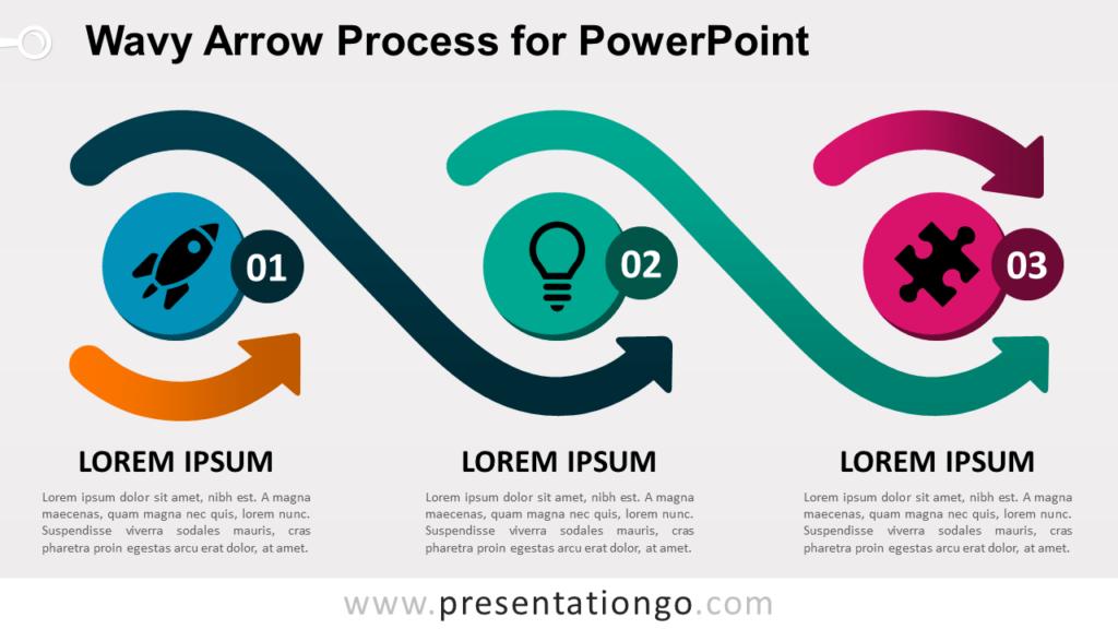 Free Wavy Arrow Process Diagram for PowerPoint