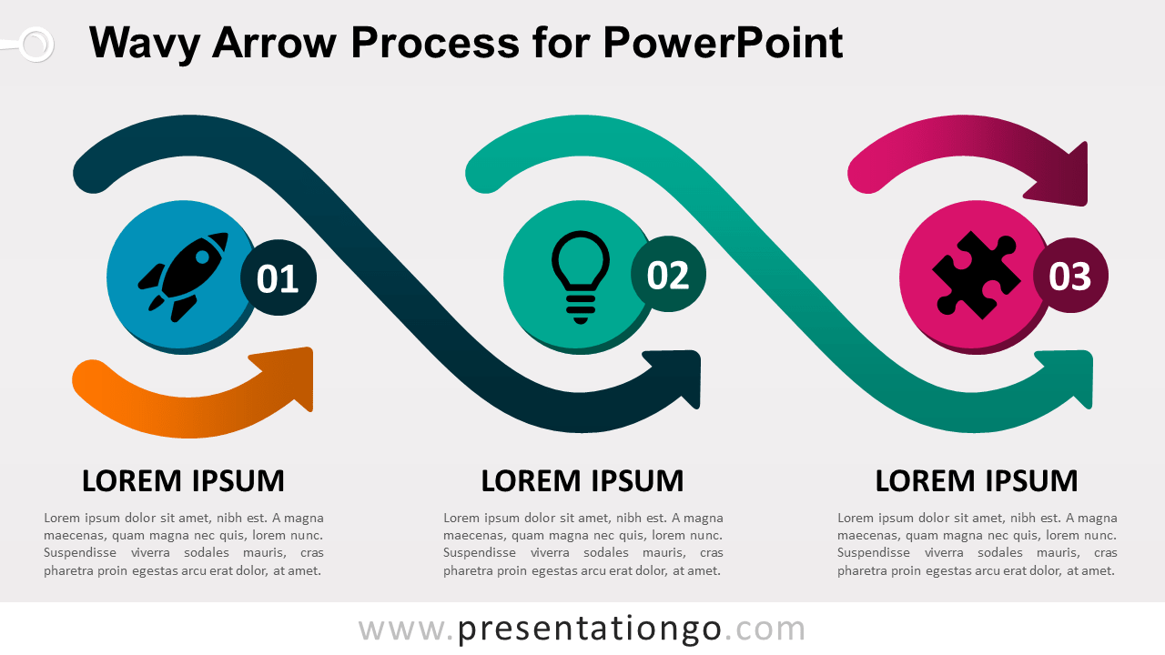 Free Wavy Arrow Process Diagram for PowerPoint