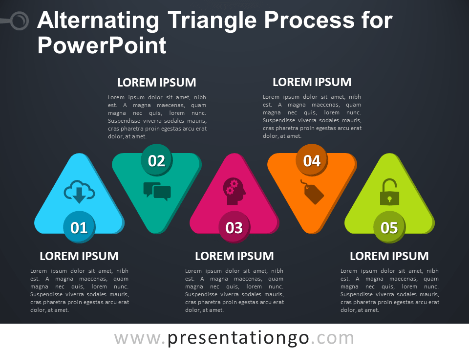 Free Alternating Triangle Process for PowerPoint - Dark Background