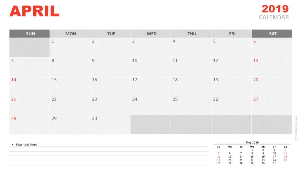 April 2019 Calendar PowerPoint