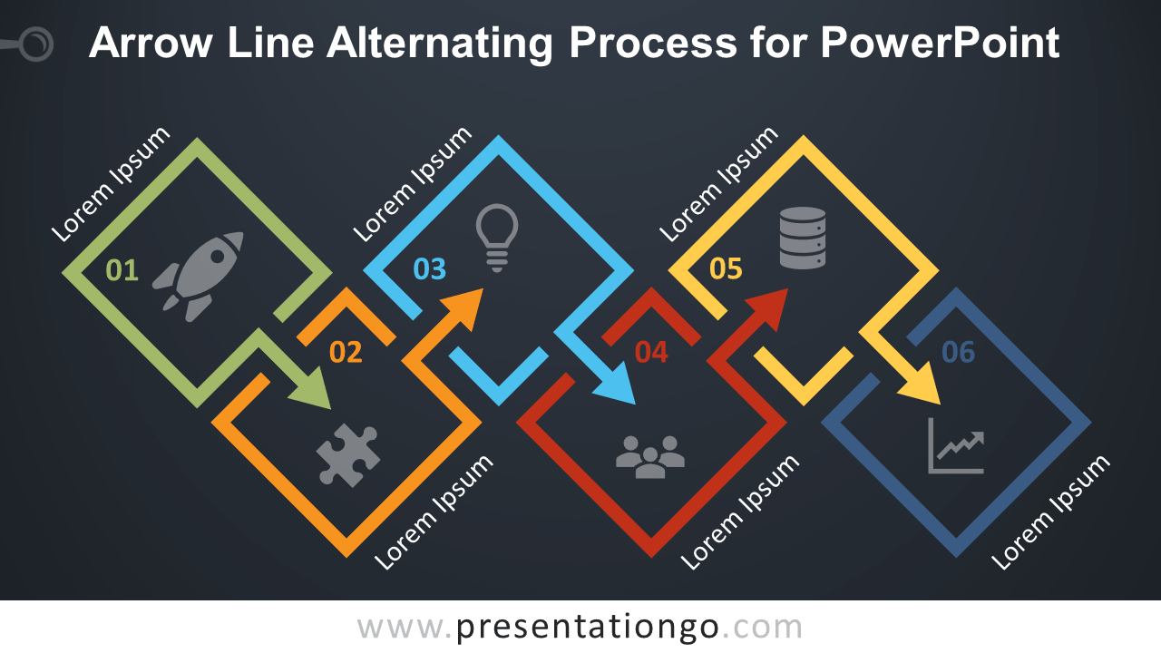 Free Arrow Line Alternating Process Diagram for PowerPoint - Dark Background