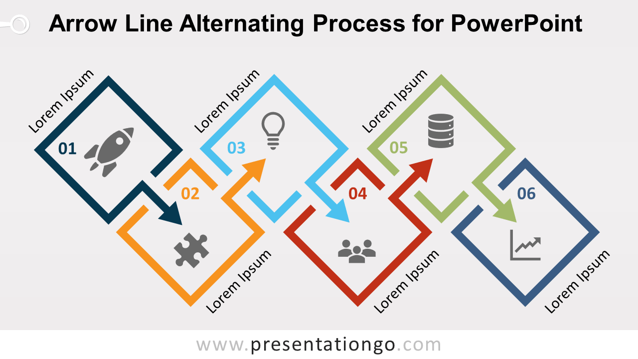Free Arrow Line Alternating Process Diagram for PowerPoint