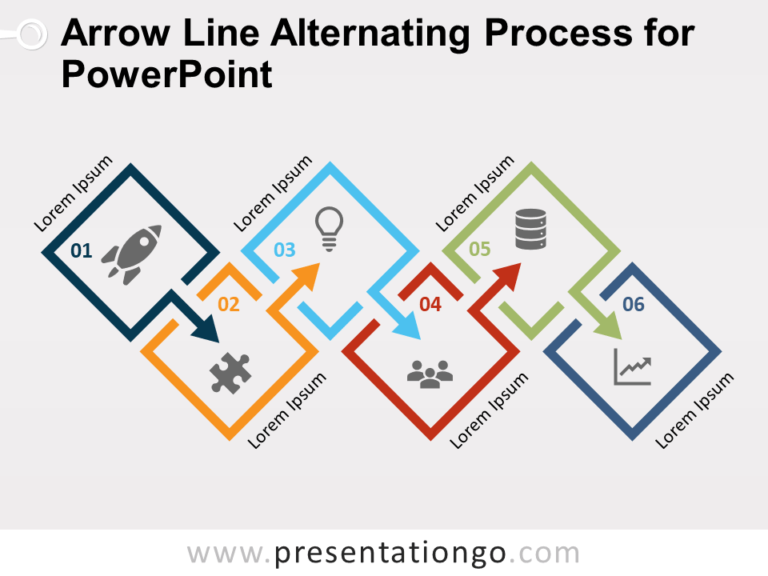 Free Arrow Line Alternating Process for PowerPoint