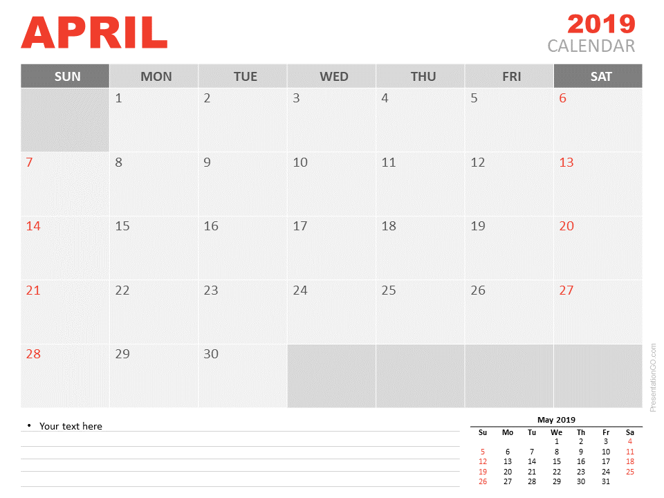 Free April Calendar 2019 for PowerPoint - Week starts Sunday