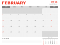 Free February Calendar 2019 for PowerPoint - Week starts Sunday