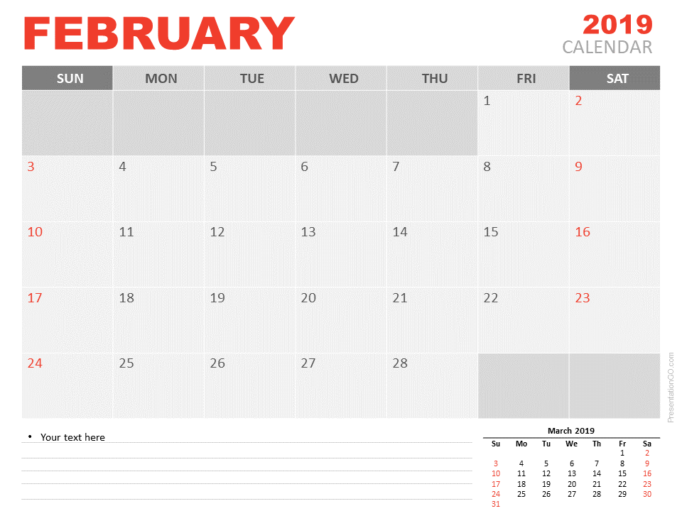 February Calendar 2019.February 2019 Calendar For Powerpoint Presentationgo Com