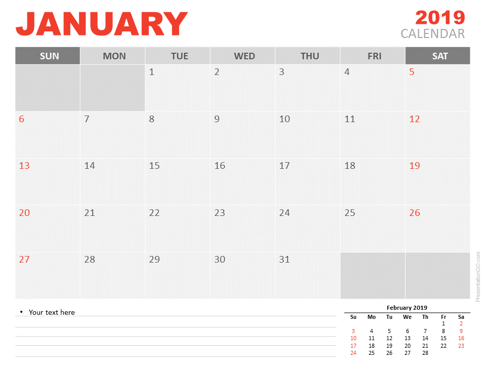 Free January Calendar 2019 for PowerPoint - Week starts Sunday