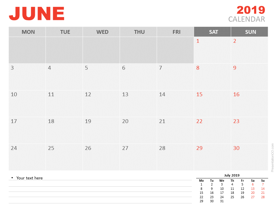 Free June Calendar 2019 for PowerPoint - Week starts Monday