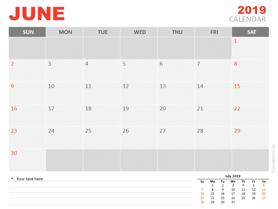 Free June Calendar 2019 for PowerPoint - Week starts Sunday