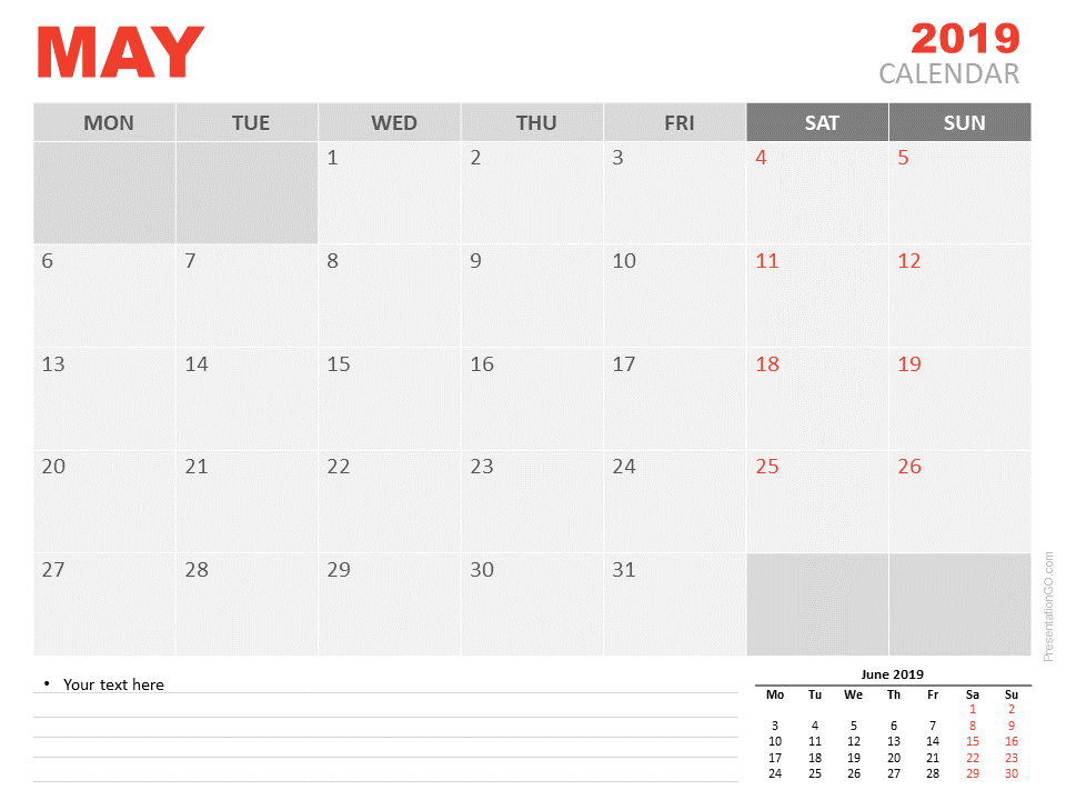 Free May Calendar 2019 for PowerPoint - Week starts Monday