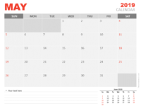 Free May Calendar 2019 for PowerPoint - Week starts Sunday