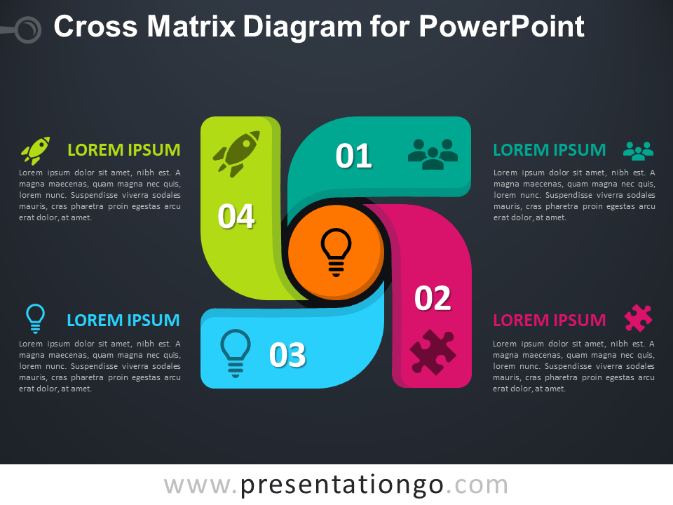 Free Cross Matrix Diagram for PowerPoint - Dark Background