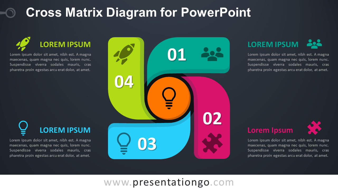 Free Cross Matrix for PowerPoint - Dark Background