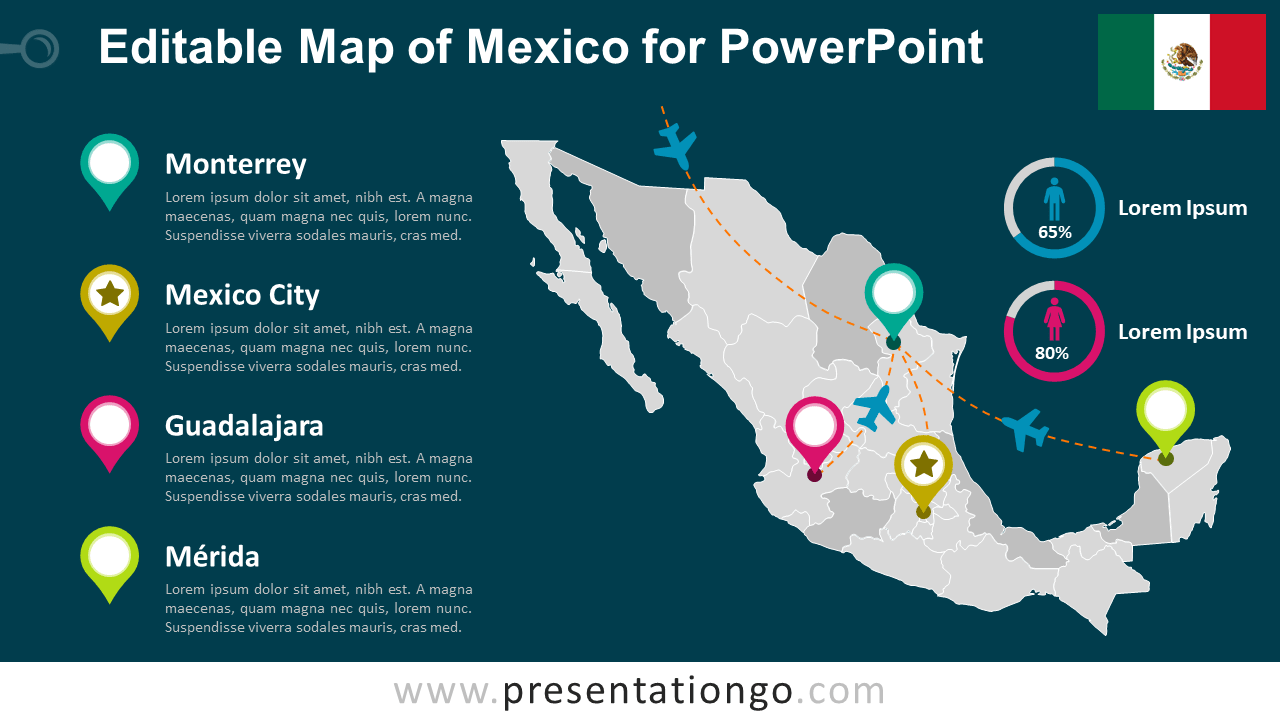 Free Editable Mexico Map for PowerPoint