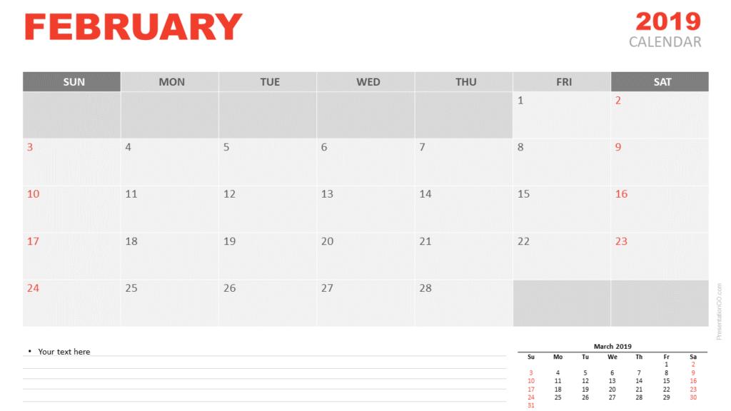Free February 2019 Calendar PowerPoint