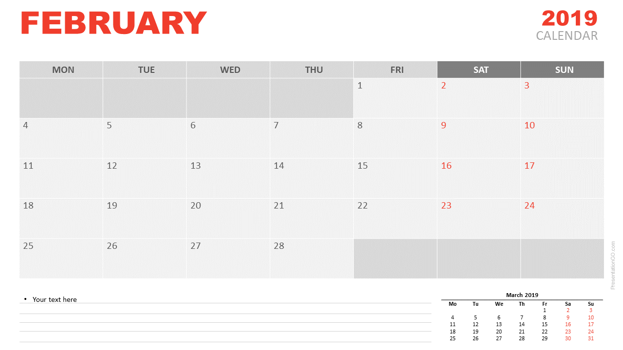 Calendar Feb 2019.February 2019 Calendar For Powerpoint Presentationgo Com