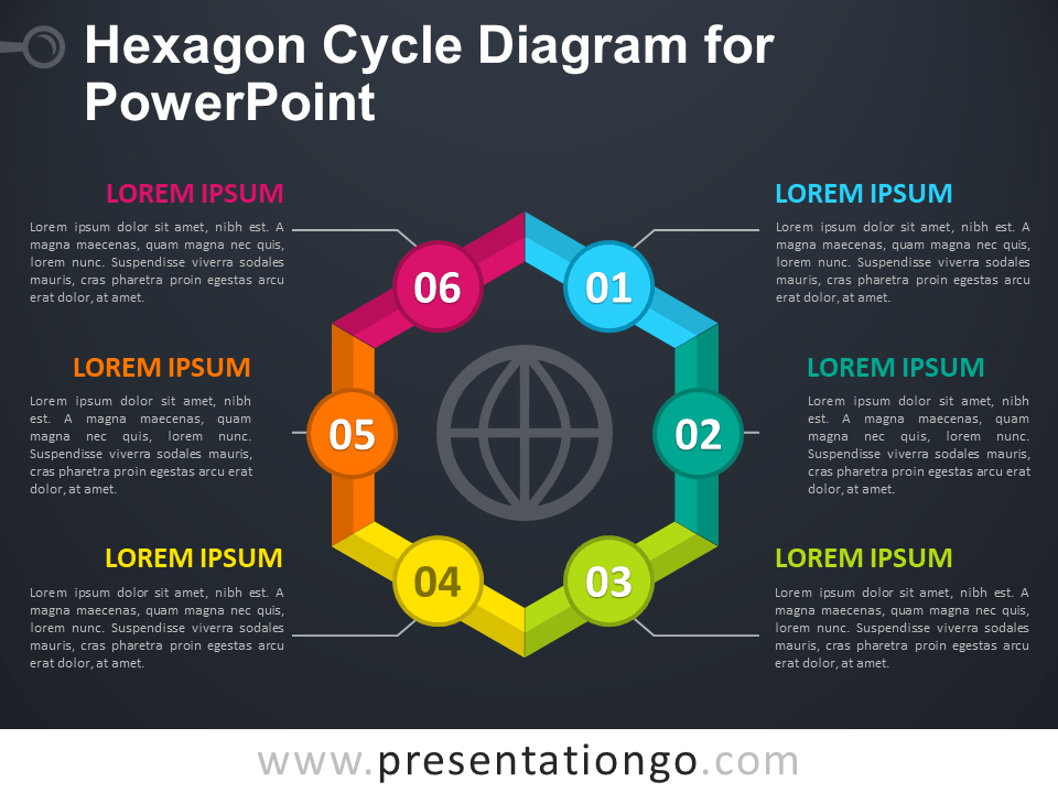 Free Hexagon Cycle Diagram for PowerPoint - Dark Background