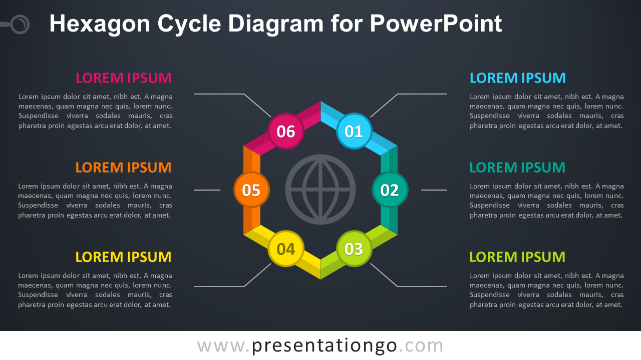 Free Hexagon Cycle PowerPoint - Dark Background