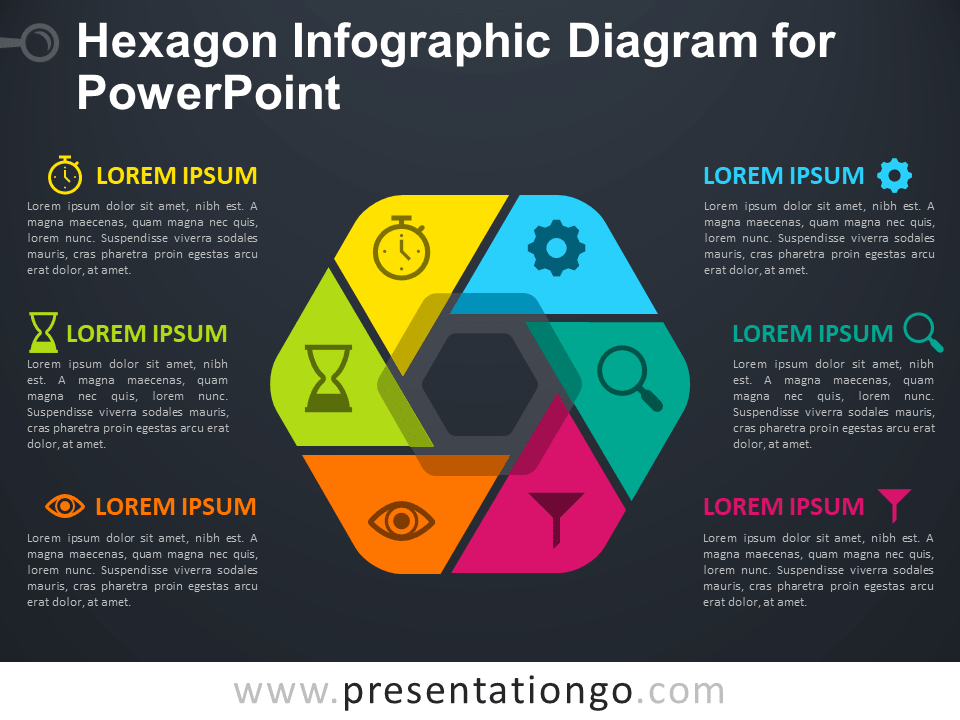 Free Hexagon Infographic Diagram for PowerPoint - Dark Background