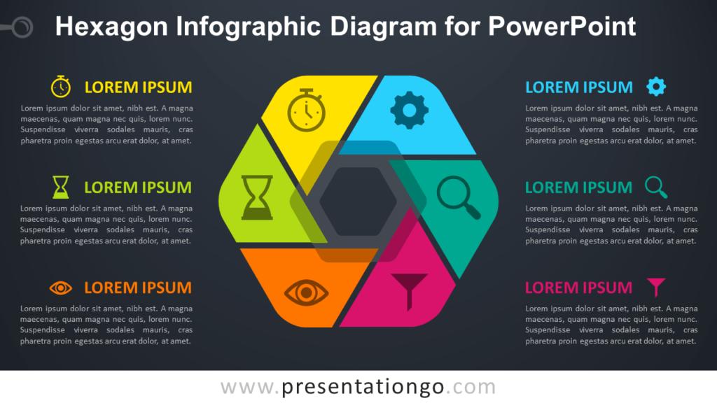Free Hexagon Infographic PowerPoint - Dark Background