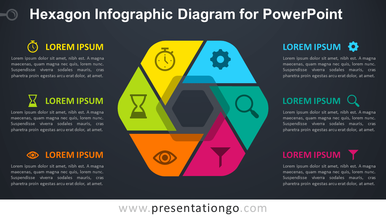 Free Hexagon Infographic PowerPoint - Dark Background