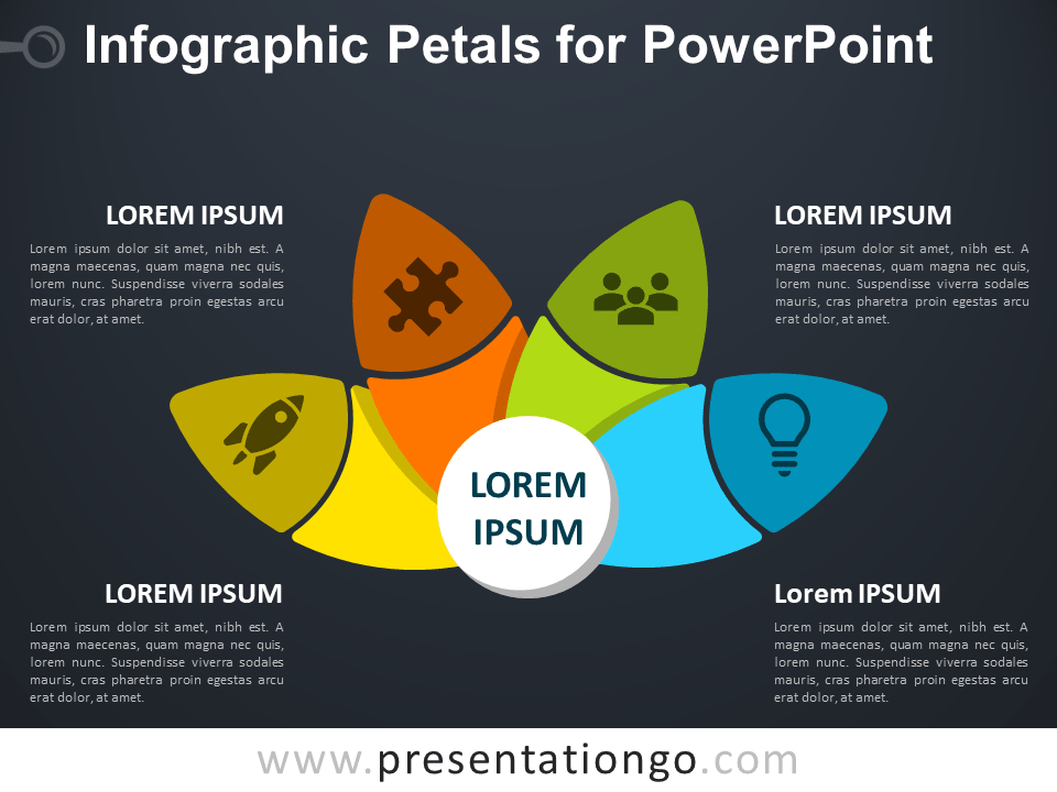 Free Infographic Petals for PowerPoint - Dark Background