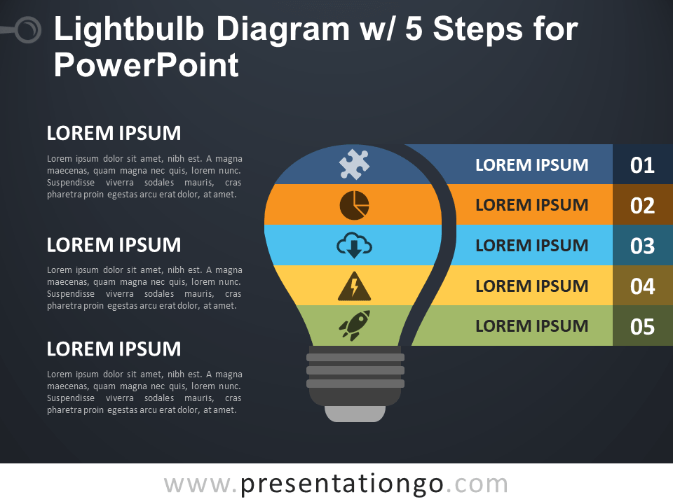 Free Light Bulb Diagram with Five Steps for PowerPoint - Dark Background